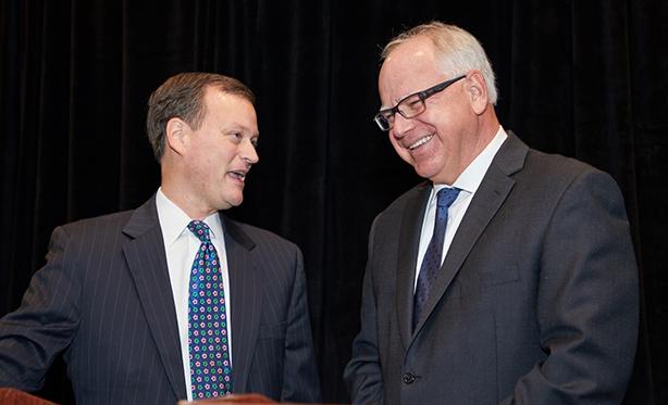 Tim Waltz and Jeff Johnson gubernatorial debate at Twin West Chamber of Commerce