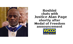 Roshini chats with Justice Alan Page shortly after Medal of Freedom announcement