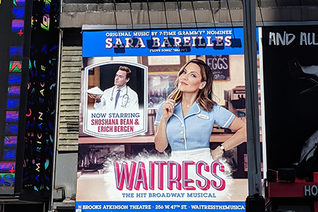 The show: Waitress. A down-home America story about a working class town with a waitress as the main character. Her specialty? Pie making.